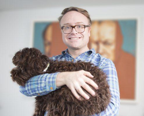 Dr James Andrews with dog Homer