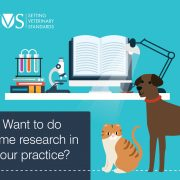 illustration - of dog, cat and books with text - Want to do some research in your practice?