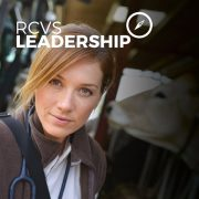 Vet with stephoscope and text - 'RCVS Leadership'