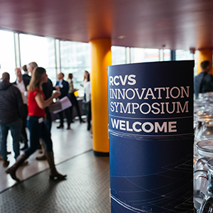 RCVS Innovation Symposium Welcome sign inside event